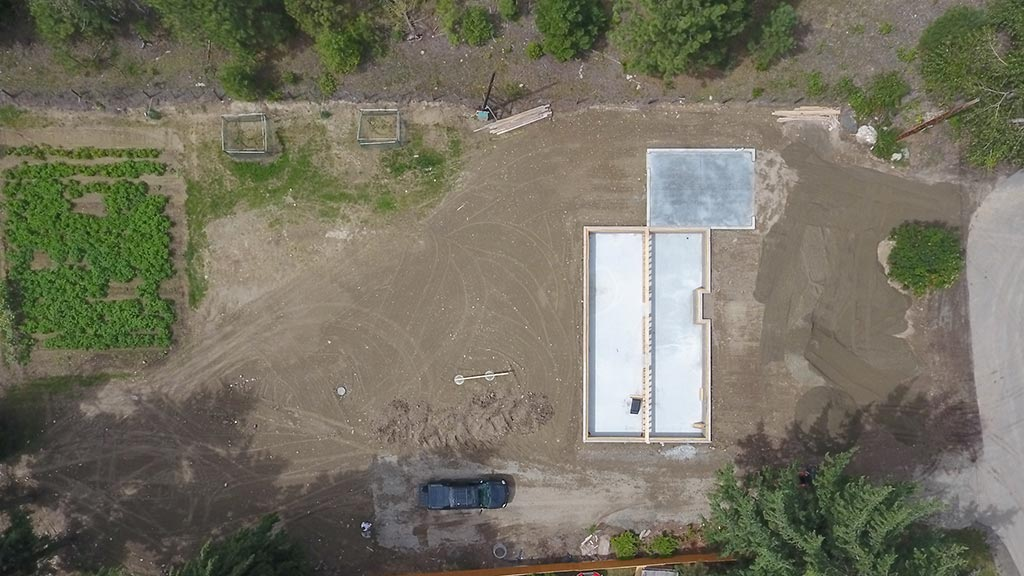 UAV Aerial Photo Sundown Foundation Construction Birds Eye View