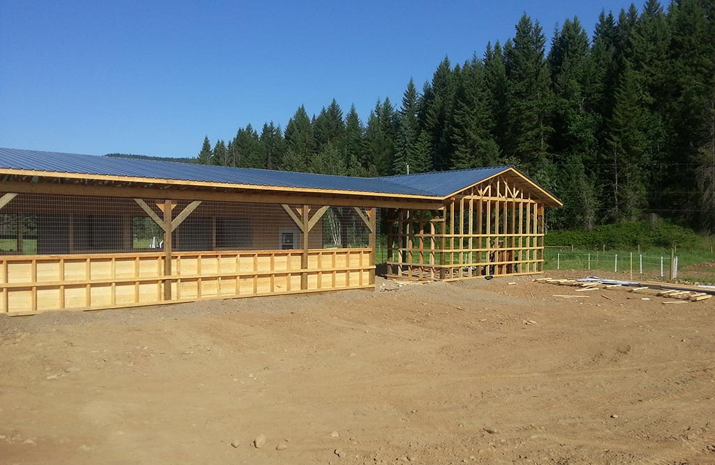 Custom barn construction project in process